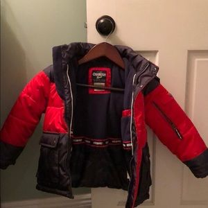 Boys Osh Kosh B'gosh red/gray puff coat with hood